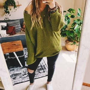 Sweaters - Moss green ribbed slouchy off shoulder sweater p3